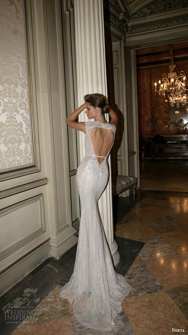 berta fall 2016 bridal queen anne neckline cap sleeves beautiful mermaid wedding dress keyhole back