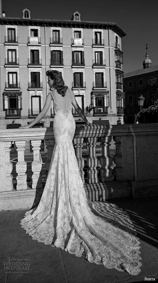 berta fall 2016 bridal spagetti strap deep plunging v neckline lace embroidered mermaid wedding dress back view