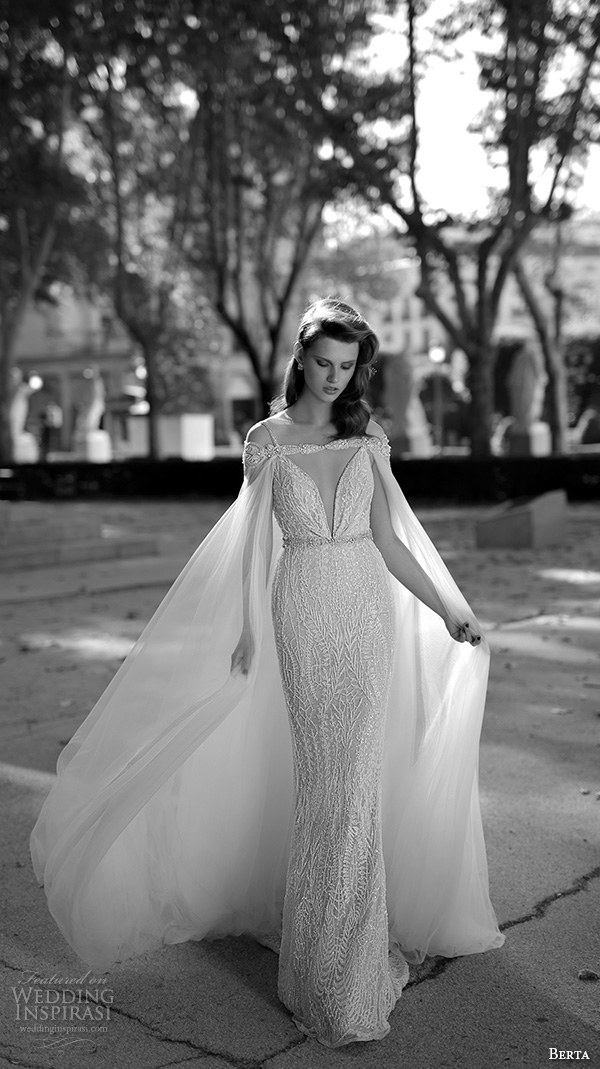 berta fall 2016 bridal spagetti strap deep v neckline beautiful sheath wedding dress with cape