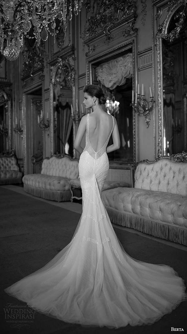 berta fall 2016 bridal spagetti strap sweetheart neckline geometric beaded pattern mermaid wedding dress chapel train
