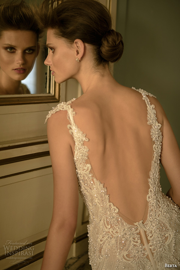 berta fall 2016 bridal spagetti strap sweetheart neckline geometric lace beaded embroidery mermaid wedding dress