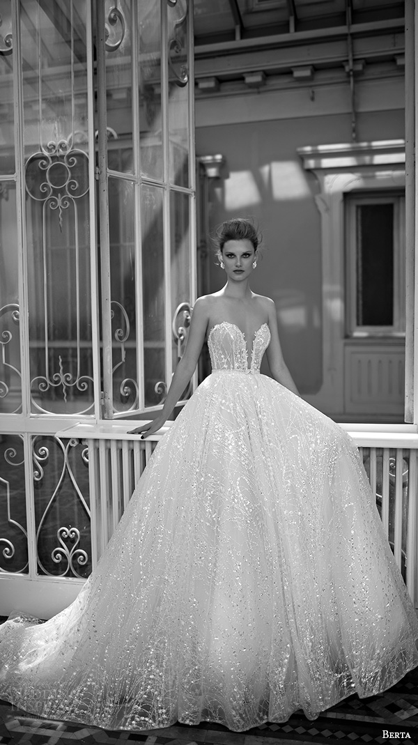 berta fall 2016 bridal strapless sweetheart neckline with deep plungng split bodice a  line wedding ball gown dress