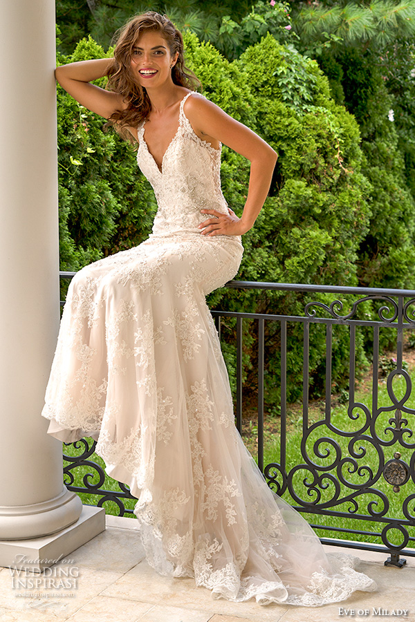dcdf18314 eve of milady boutique fall 2015 beautiful sheath wedding dress lace straps  v neckline beaded lace