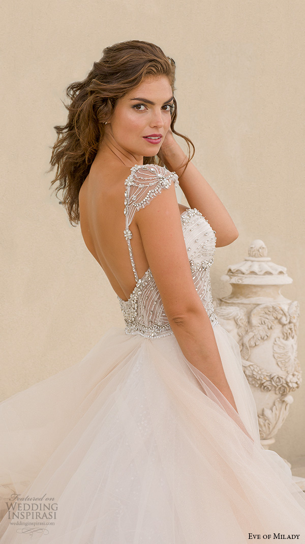 eve of milady boutique fall 2015 cap sleeves beaded jeweled corset bodice sweetheart neckline beautiful tulle a  line ball gown wedding dress 1548