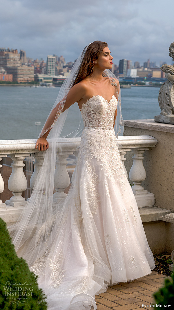eve of milady boutique fall 2015 romantic strapless sleeveless lace embroidered bodice beautiful a  line wedding dress 1549