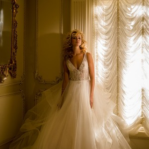 eve of milady boutique spring 2016 bridal gorgeous tulle a  line wedding dress v neckline sleeveless lace beaded embroidered bodice style1558