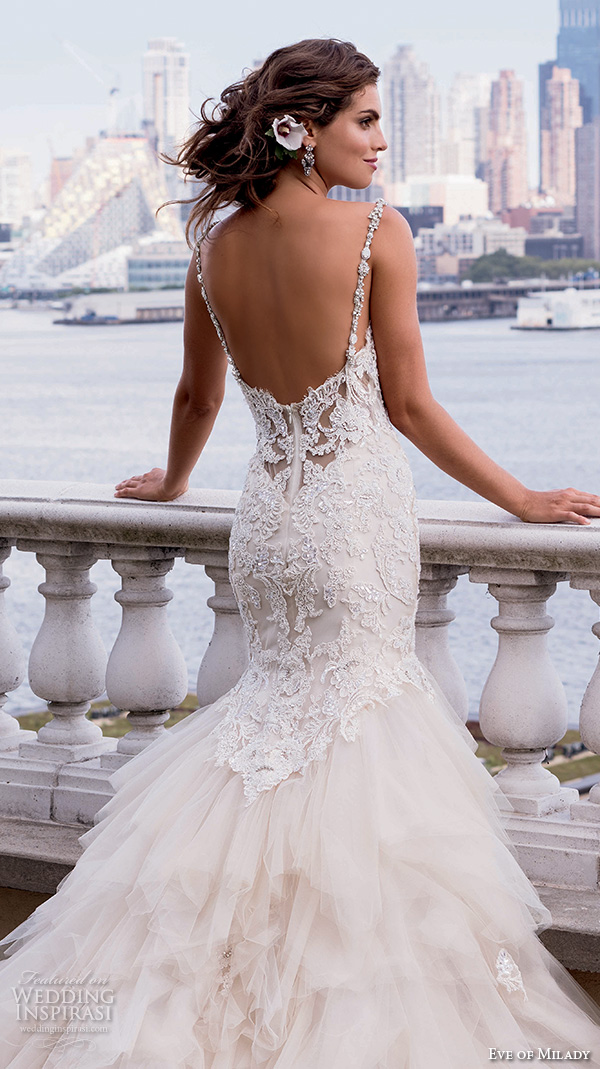 eve of milady couture fall 2015 beautiful mermaid wedding dress beaded lace bodice tulle skirt sweetheart neckline 4337