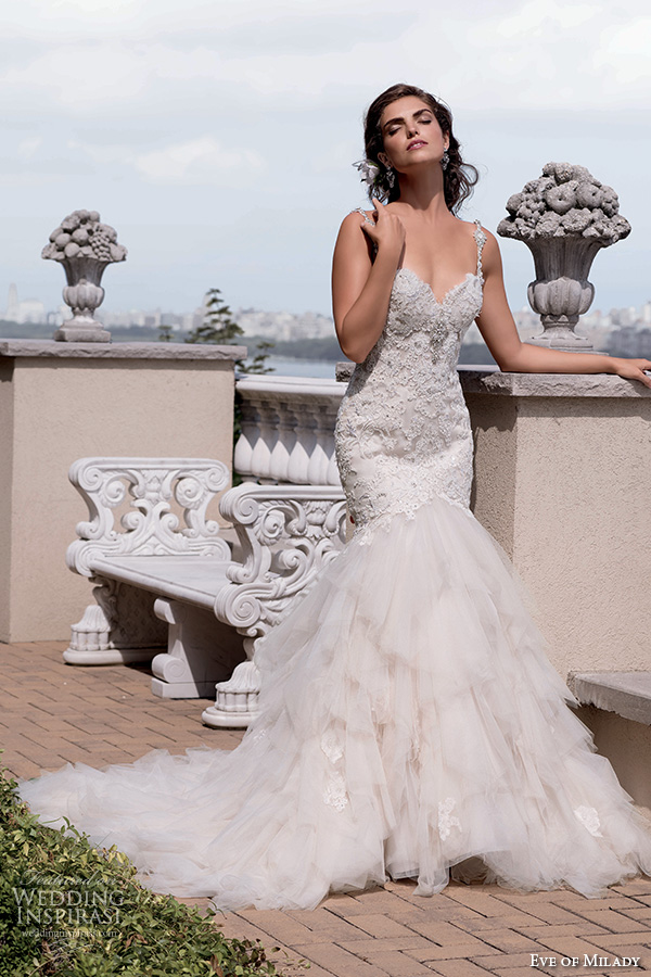 Eve Of Milady Couture Fall 2015 Beautiful Mermaid Wedding Dress Beaded Lace Bodice Tulle Skirt Sweetheart