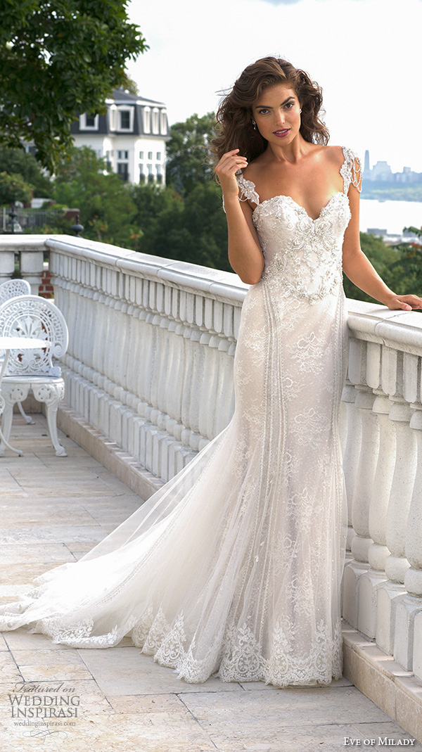 eve of milady couture fall 2015 lace beaded strap bodice sweetheart neckline fit to flare trumpet beautiful mermaid wedding dress 4339