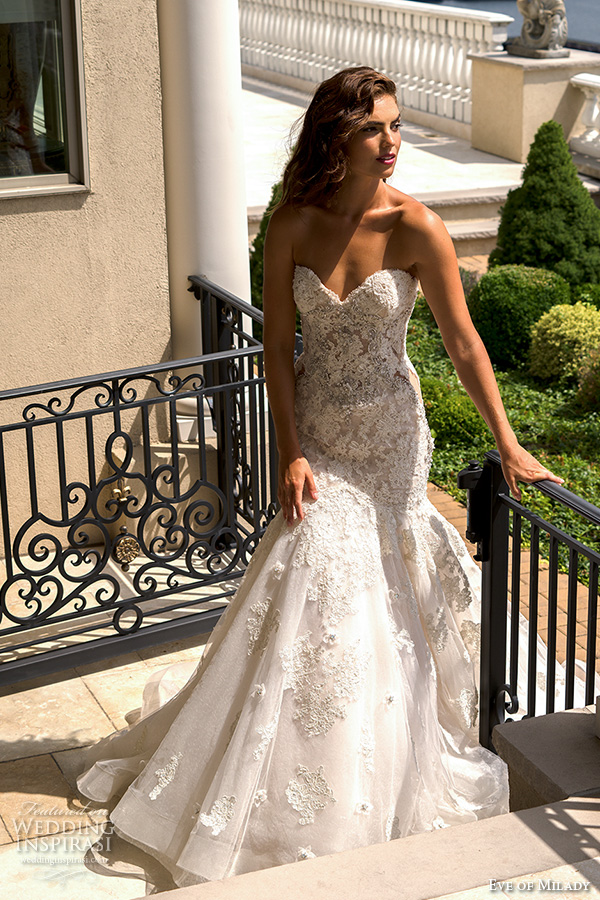 eve of milady couture fall 2015 strapless sweetheart neckline gorgeous fit to flare trumpet lace embroidered mermaid wedding dress 4338
