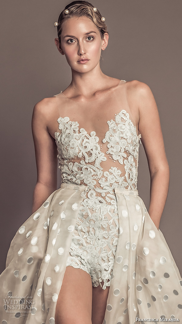 francesca miranda fall 2016 bridal gorgeous sleeveless jeweled sheer neckline lace embroidered bodice high waist short with a  line polka dots overskirt style penelope
