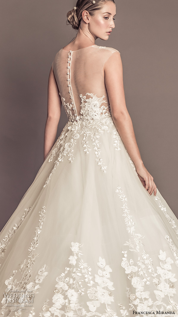 francesca miranda fall 2016 bridal sleeveless bateau illusion lace neckline flora embroidered beautiful a  line wedding dress celeste