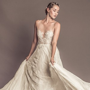 francesca miranda fall 2016 bridal sleeveless sheer jewel neckline sweetheart cutout lace embroidered bodice beautiful sheath wedding dress style pilar F