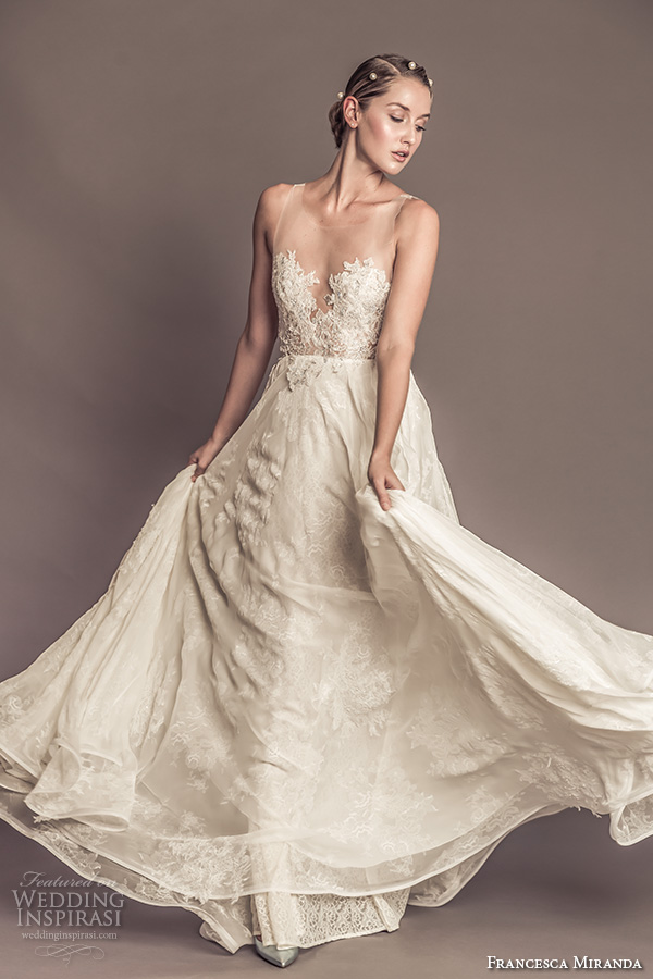 Francesca Miranda Fall 2016 Bridal Sleeveless Sheer Jewel Neckline Sweetheart Cutout Lace Embroidered Bodice Beautiful Sheath