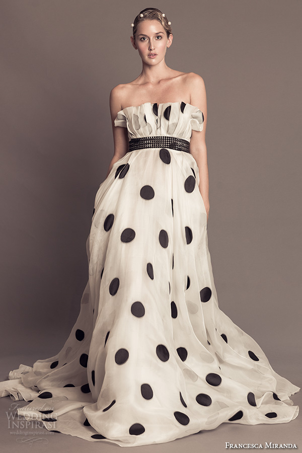 francesca miranda fall 2016 bridal strapless crumb catcher straight across neckline polka dots a  line wedding dress style alma