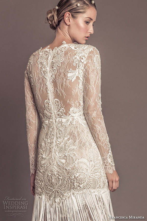 francesca miranda fall 2016 bridal stunning bateau neckline lace long sleeves lace embroidered bodice fringed sheath wedding dress style agata