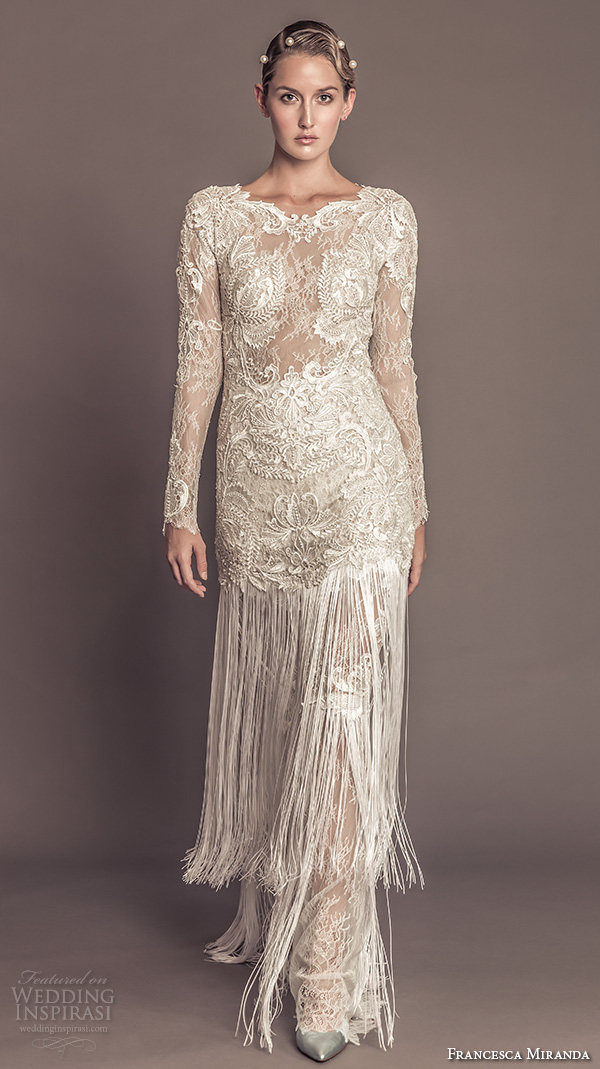 New Year S Eve Wedding Style Tips From The Designer Francesca Miranda Fall 2016 Bridal Stunning Bateau Neckline Lace Long Sleeves Embroidered Bodice