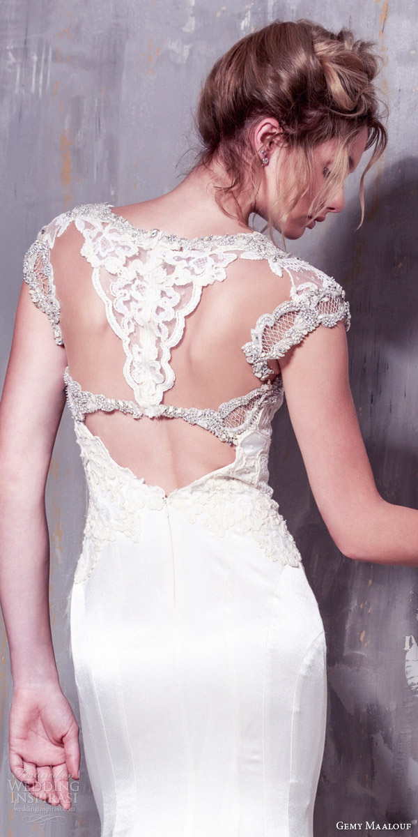 gemy maalouf bridal 2016 cap sleeve wedding dress unique embellishment illusion keyhole back close up