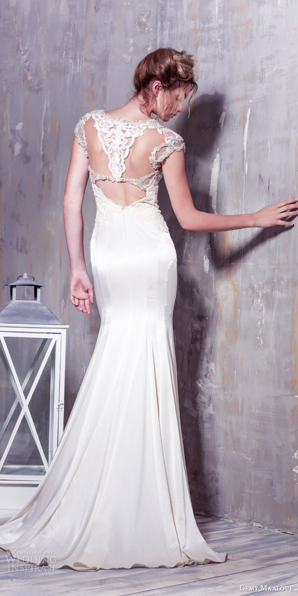 gemy maalouf bridal 2016 cap sleeve wedding dress unique embellishment illusion keyhole back
