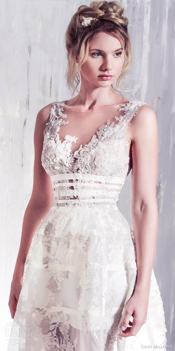 gemy maalouf bridal 2016 romantic sleeveless wedding dress illusion jewel neckline lace bodice overskirt zoom