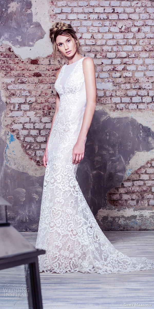 gemy maalouf bridal 2016 sleeveless high jewel neck sheath wedding dress