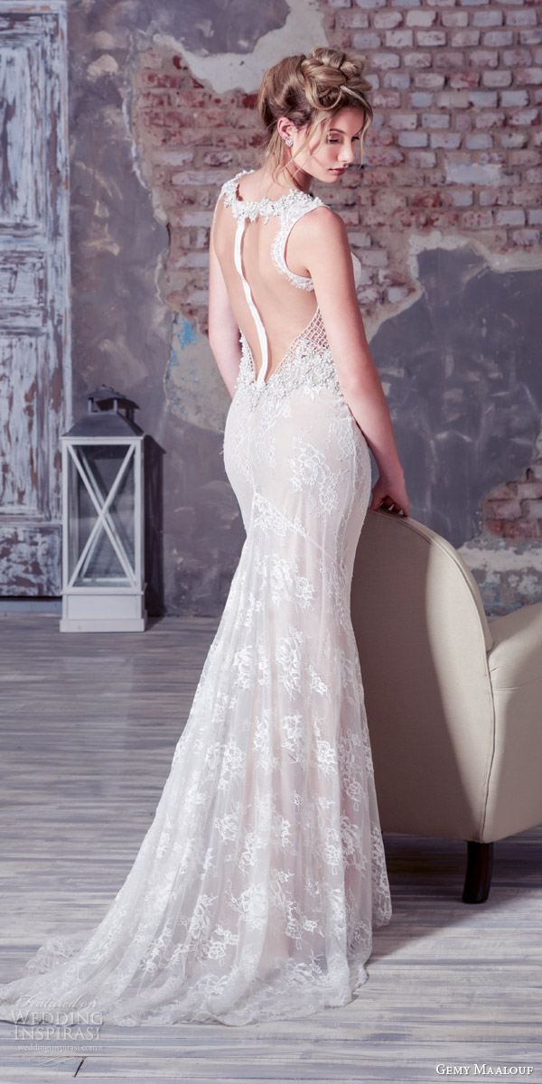 gemy maalouf bridal 2016 sleeveless sheath wedding dress illusion sexy back view