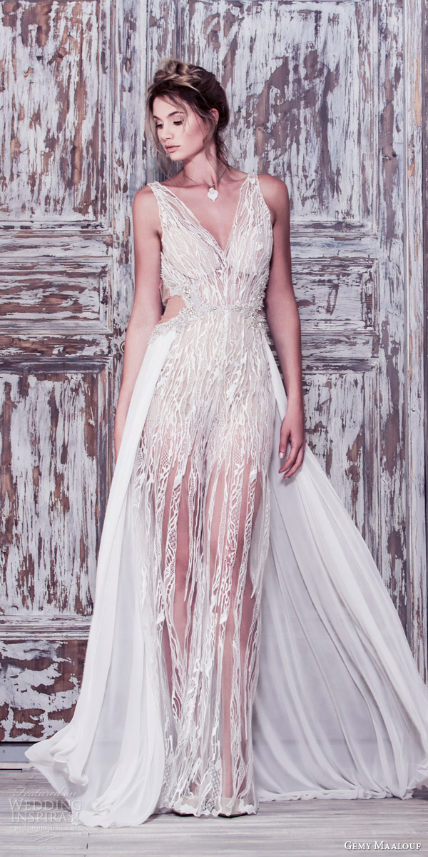 gemy maalouf bridal couture 2016 sleeveless sheer sheath wedding dress overskirt