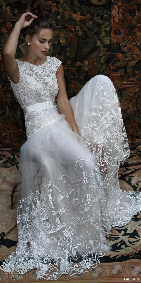 lihi hod bridal 2016 aria cap sleeve wedding dress lace embellished bodice skirt belt