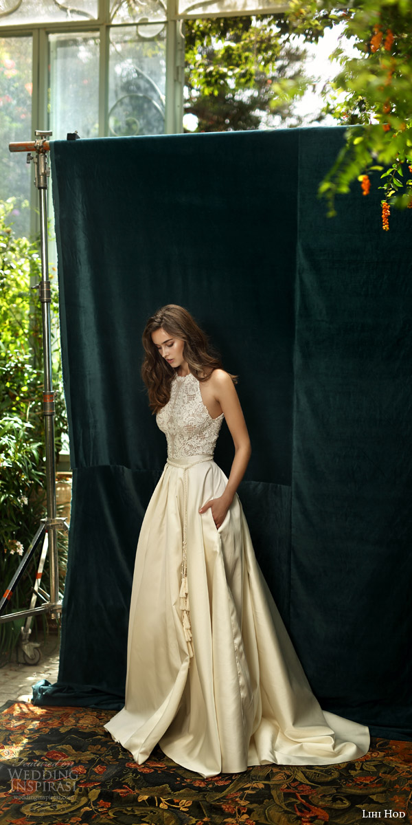 lihi hod bridal 2016 dolce vita champagne off white ivory sleeveless wedding dress halter neck lace bodice skirt pockets