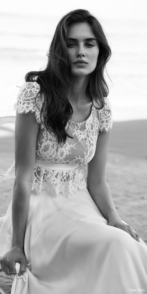 lihi hod bridal 2016 emma wedding dress scalloped cap sleeve lace crop top bodice empire waist sash skirt
