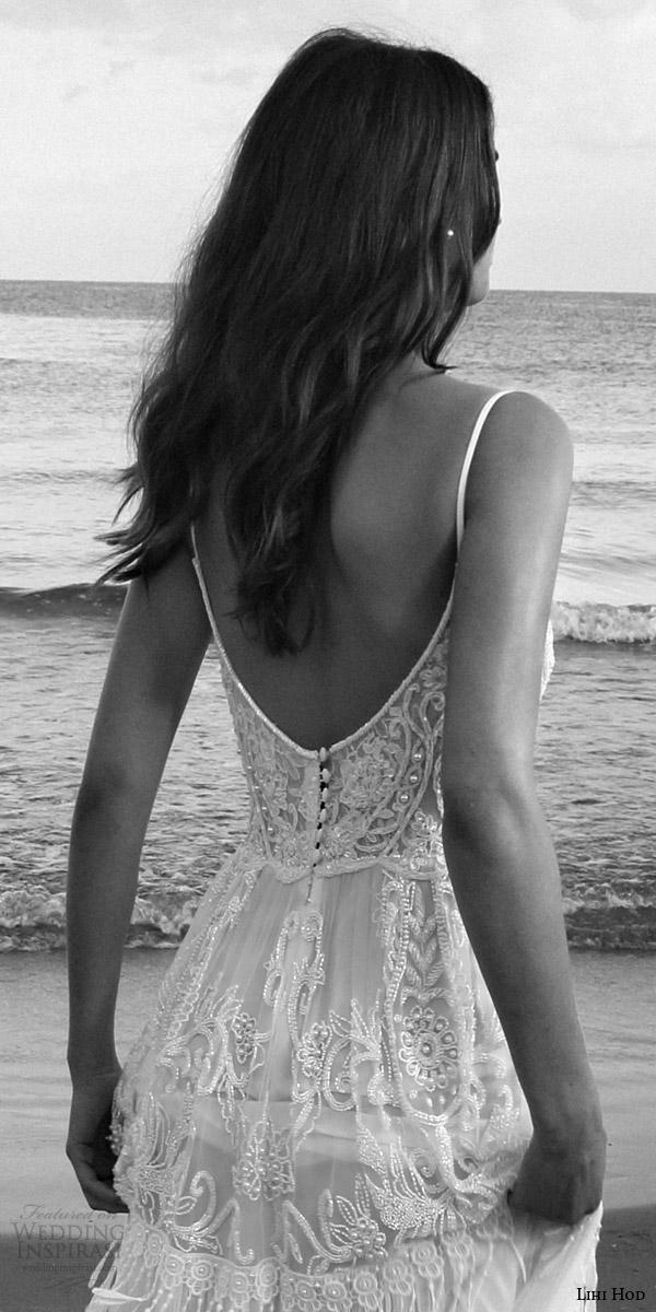 lihi hod bridal 2016 lilo sleeveless bohemian wedding dress straps embroidered bodice pleated skirt lattice bead fringe back view zoom