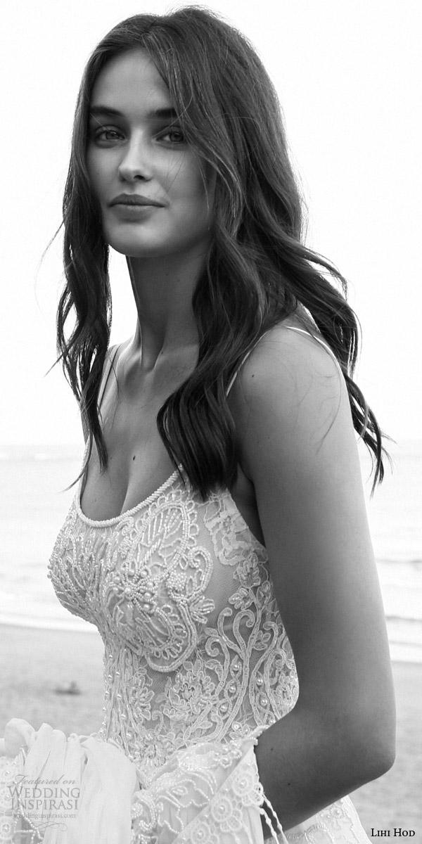 lihi hod bridal 2016 lilo sleeveless bohemian wedding dress straps embroidered bodice pleated skirt lattice bead fringe close up