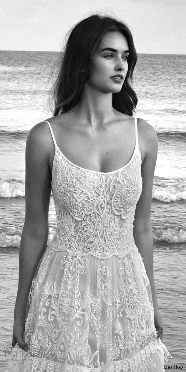 lihi hod bridal 2016 lilo sleeveless bohemian wedding dress straps embroidered bodice pleated skirt lattice bead fringe zoom
