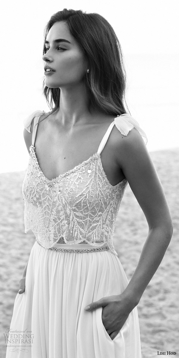 lihi hod bridal 2016 lucy sleeveless tie straps romantic wedding dress skirt pockers embellished bodice top