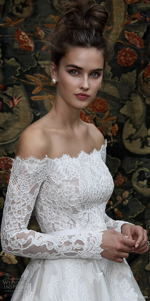 lihi hod bridal 2016 madison romantic ball gown wedding dress off shoulder long sleeve lace top bodice zoom