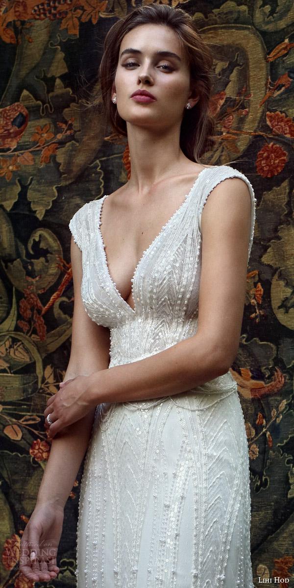 lihi hod bridal 2016 mia cap sleeve beaded v neck wedding dress bodice zoom