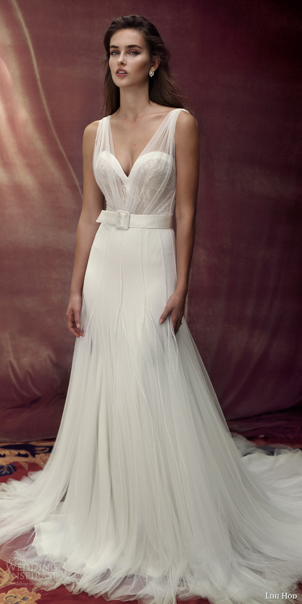 lihi hod bridal 2016 provence romantic wedding dress sleeveless sheer illusion gathered strap bodice