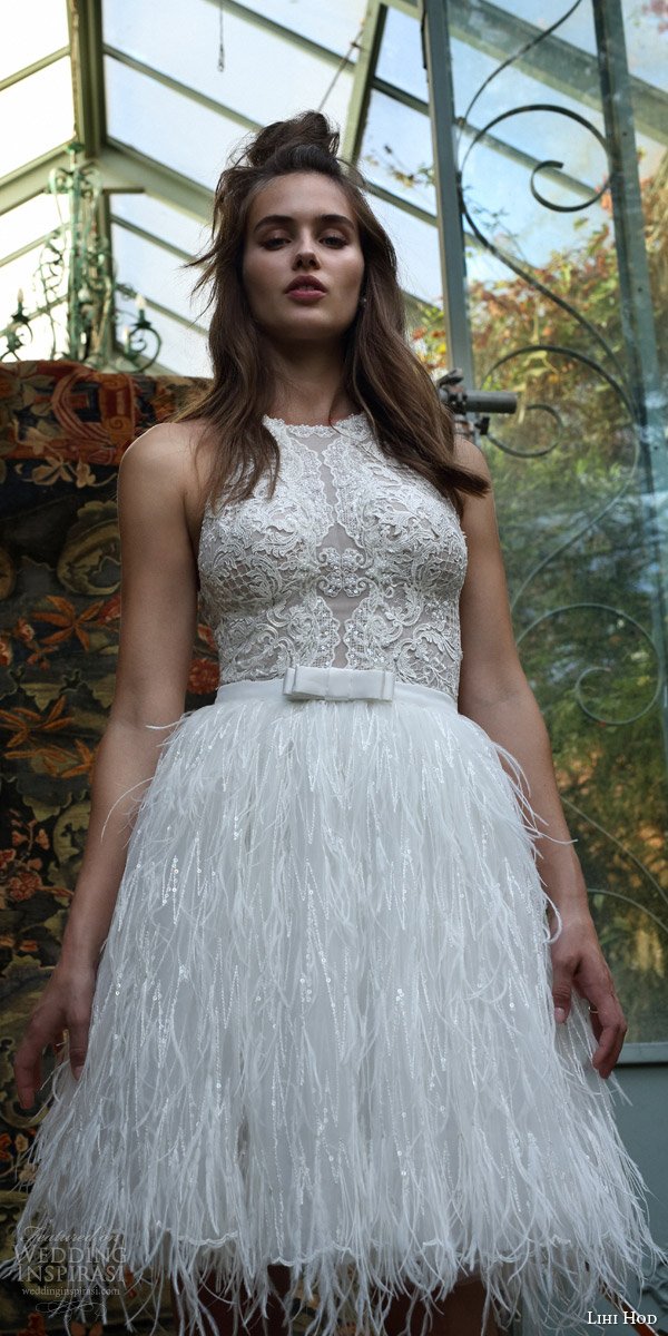 lihi hod bridal 2016 rio sleeveless halter neck lace bodice feather skirt short wedding dress
