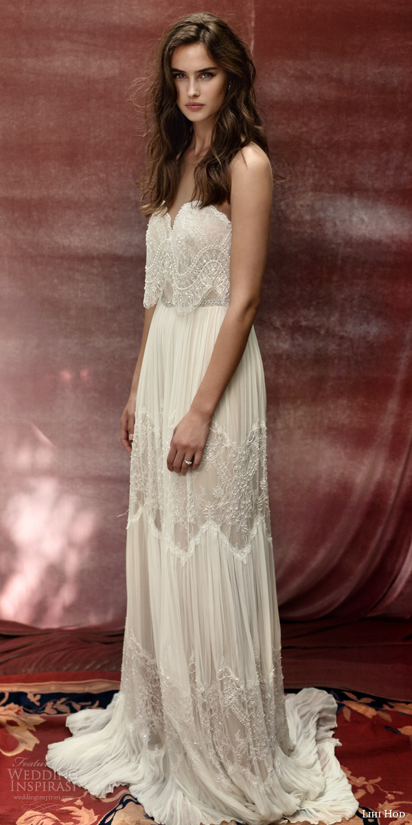 lihi hod bridal 2016 roseberry weding dress illusion strap sweetheart necklin lace top bohemian lace skirt profile
