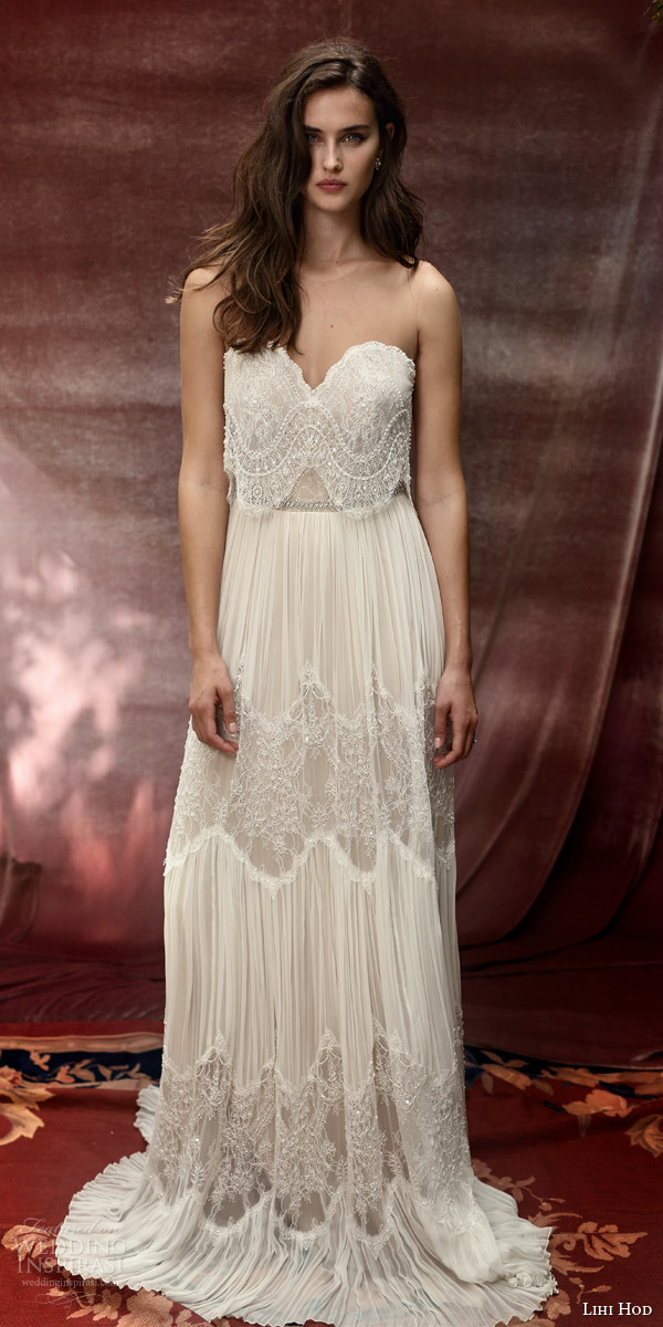 lihi hod bridal 2016 roseberry weding dress illusion strap sweetheart necklin lace top bohemian lace skirt