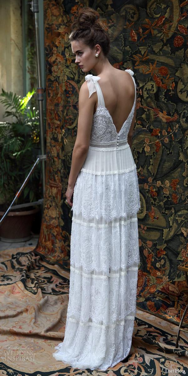 lihi hod bridal 2016 scarlet romantic bohemiand wedding dress self tie straps sleeveless bodice multi lace skirt boho chic back view