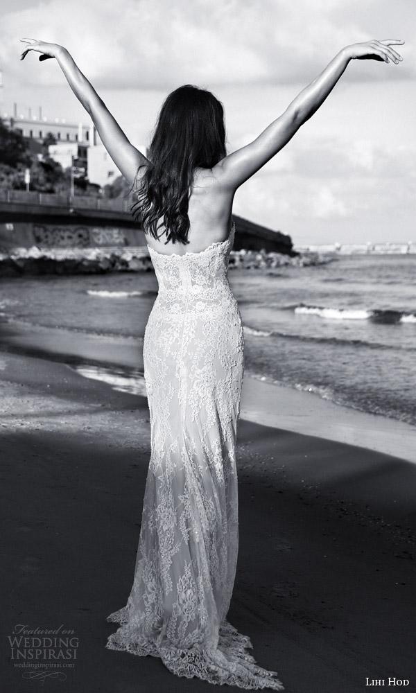 lihi hod bridal 2016 sienna sophisticated lace sheath wedding dress sweetheart neckline look back view