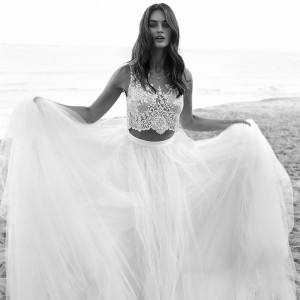 lihi hod bridal 2016 venus beach wedding dress romantic two piece embellished sleeveless crop top full tulle skirt