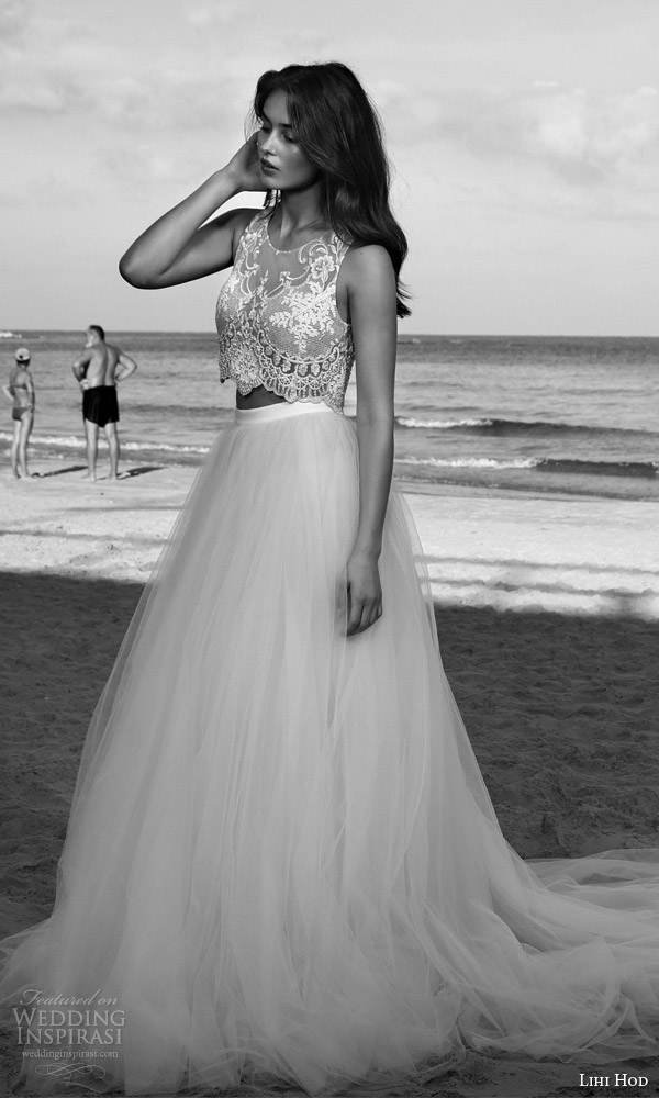 lihi hod bridal 2016 venus beach wedding dress romantic two piece embellished sleeveless crop top full tulle skirt profile view