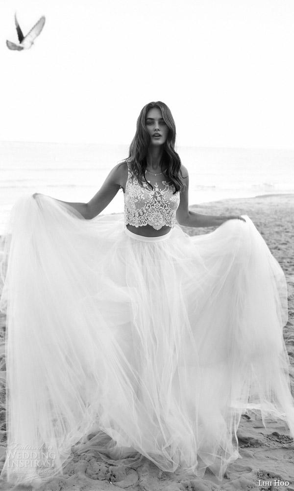 def3b12059f064 lihi hod bridal 2016 venus beach wedding dress romantic two piece  embellished sleeveless crop top full