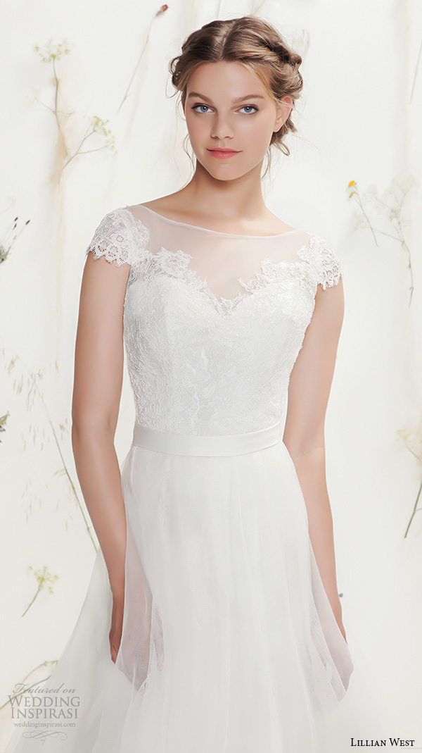 lillian west spring 2016 bridal cap sleeves bateau illusion neckline sweetheart cutout pretty tulle a  line ball gown wedding dress style 6375