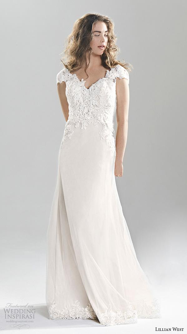 lillian west spring 2016 bridal cap sleeves sweetheart neckline lace embroidery bodice pretty sheath wedding dress style 6390
