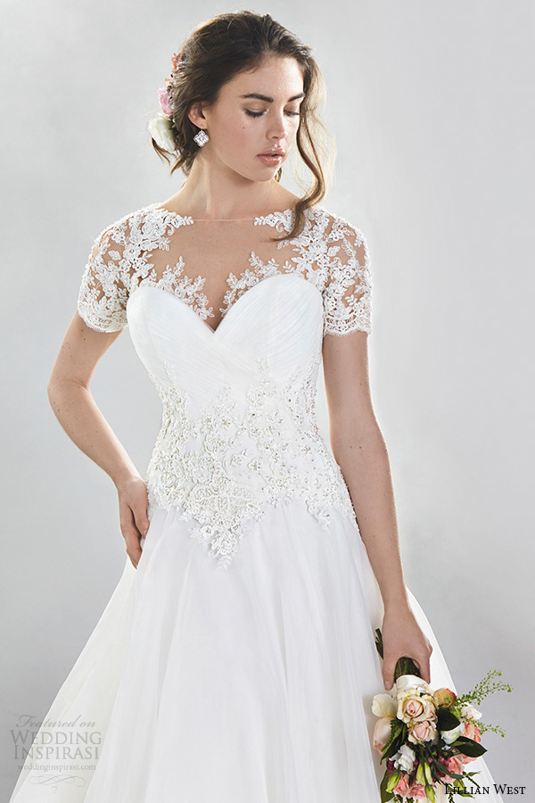 lillian west spring 2016 bridal gorgeous a  line wedding dress lace illusion short sleeves sweetheart neckline style 6402