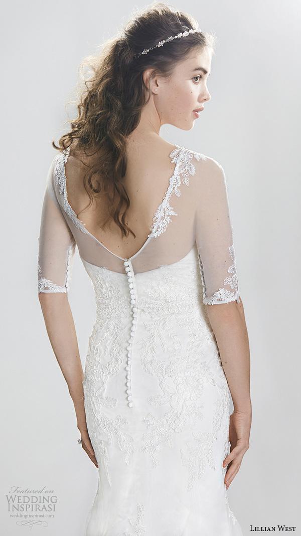 lillian west spring 2016 bridal half sleeves sheer jewel neckline sweetheart lace emboridery fit to flare beautiful mermaid wedding dress style 6396