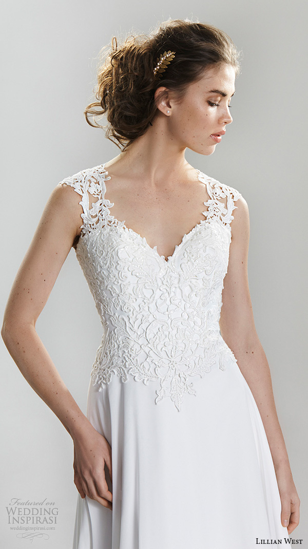 lillian west spring 2016 bridal lace strap sweetheart neckline lace embroidered bodice modified a  line wedding dress style 6398
